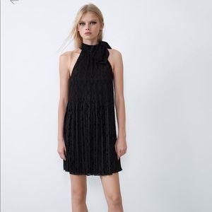 NWT Black Zara Pleated Crushed Velvet Halter Dress